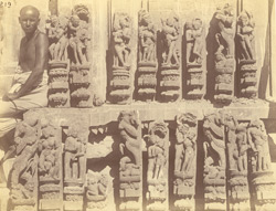 Group of sculptured pilaster figures representing amorous scenes, from the Surya Temple or Black Pagoda, Konarka 1003363